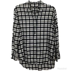 Madewell Oversized Side Button Shirt in Plaid XS